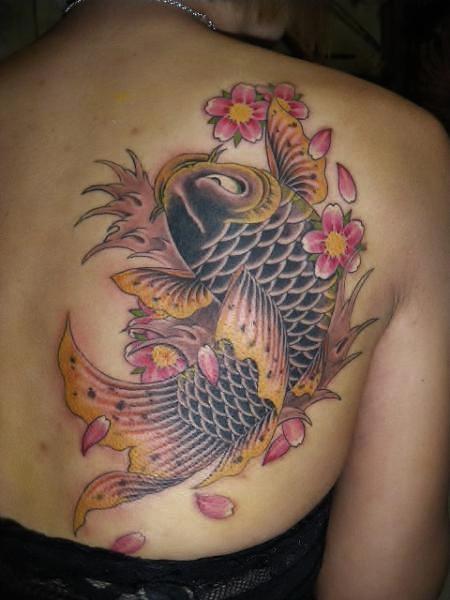 鯉・桜・女性・背中