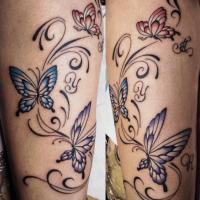 蝶・トライバル・女性・お客さまご希望デザインタトゥー